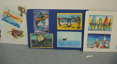 painted silk postcards seaside